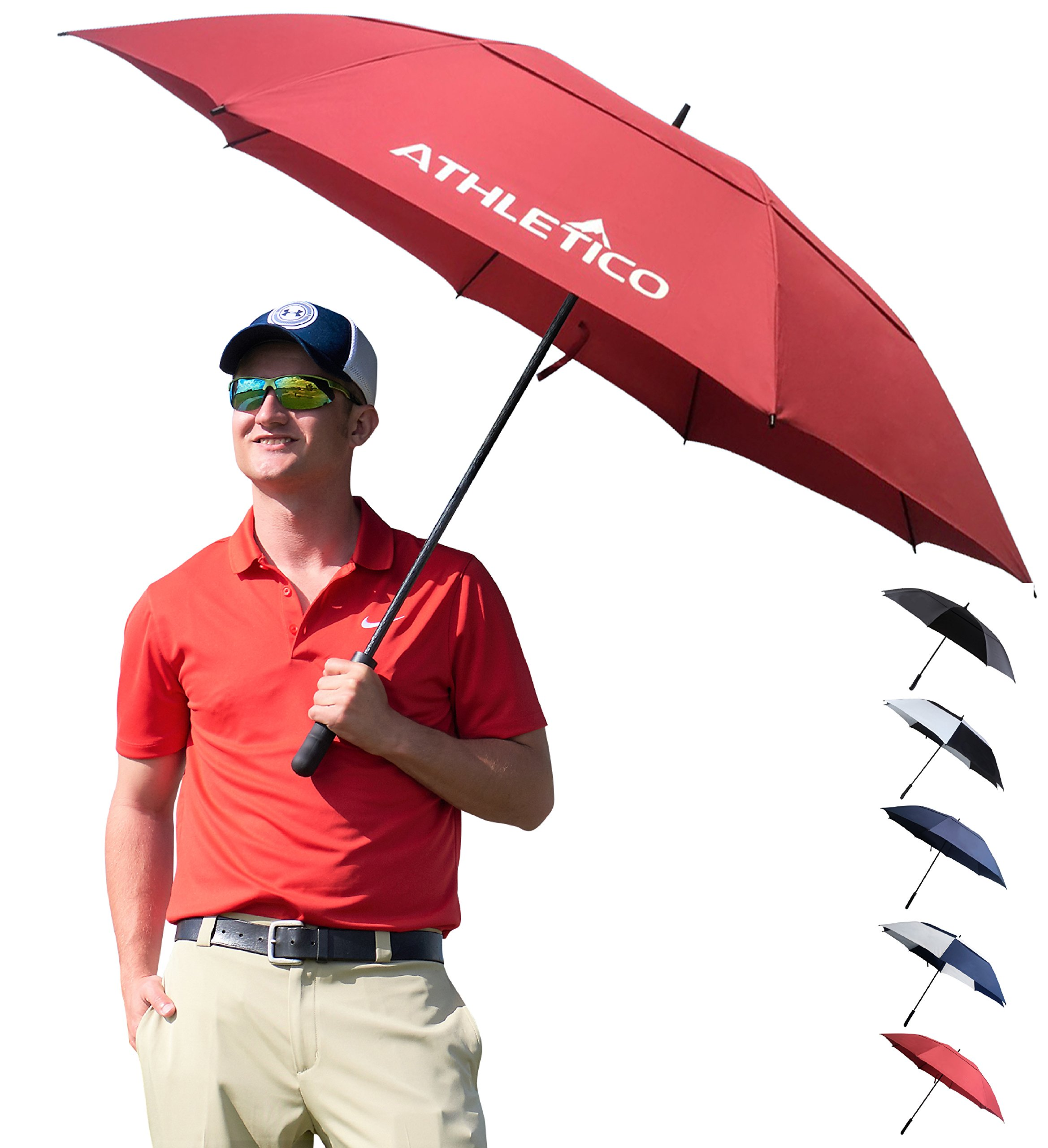Athletico 68 inch Automatic Open Golf Umbrella - Extra Large Double Canopy Umbrella is Windproof and Waterproof - Features Ergonomic Rubber Handle (Wine Red, 68 inch)