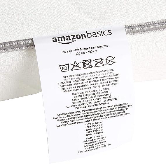 AmazonBasics - Colchón de espuma de 7 zonas extraconfortable, Firmeza Media (H3) - 135 x 190 cm: Amazon.es: Hogar