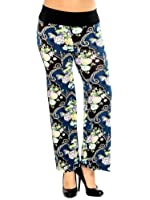 Simplicity Women Casual Wide Leg Pants Trouser w/ Elastic Waist