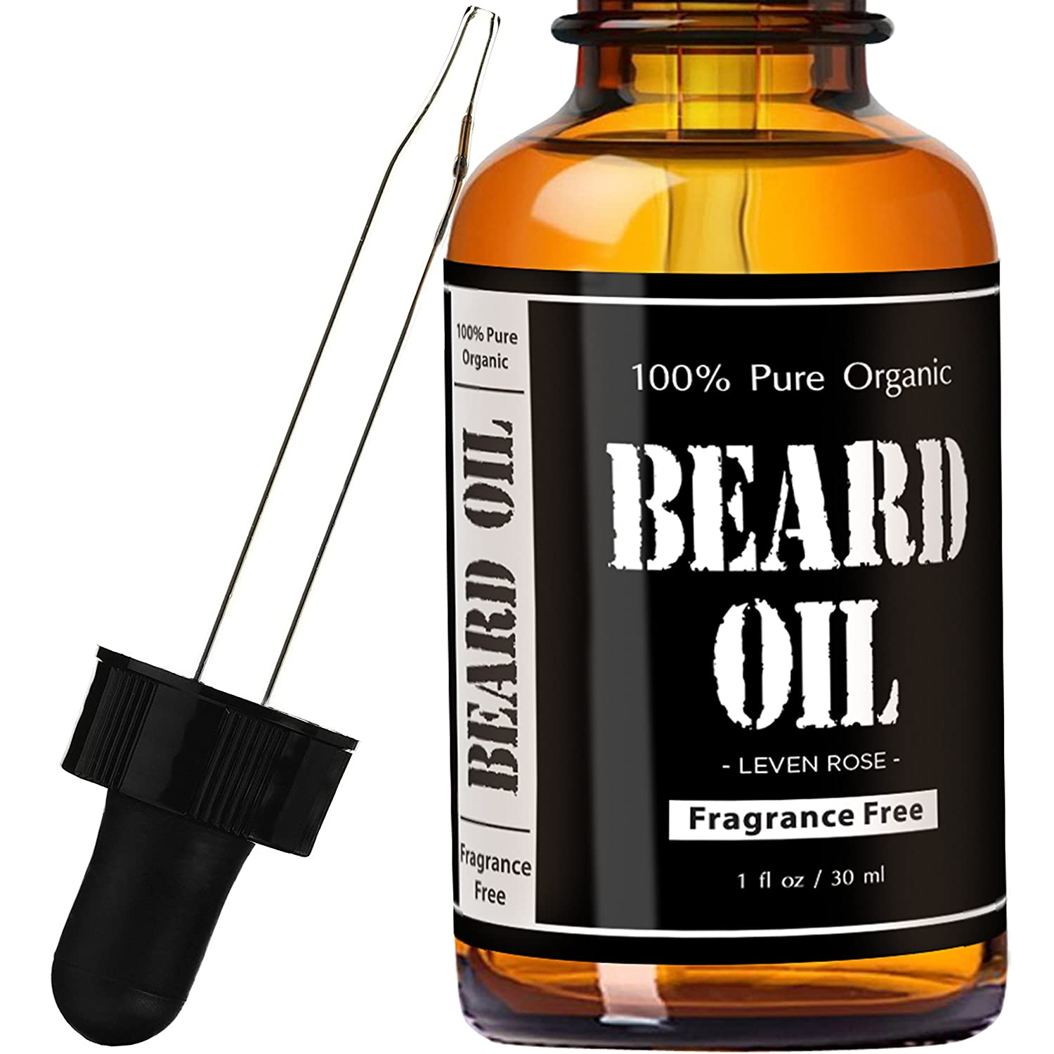Fragrance Free Beard Oil & Leave In Conditioner by Leven Rose, 100% Pure Natural Organic for Groomed Beards, Mustaches, and Moisturized Skin 1 oz