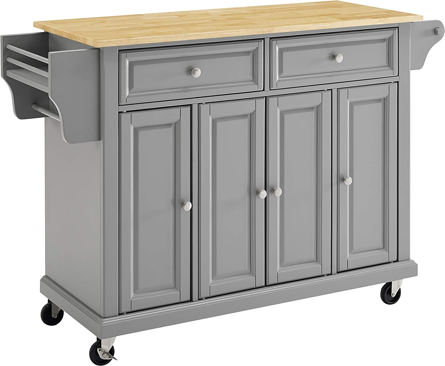 Crosley Furniture Full Size Kitchen Cart with Natural Wood Top, Gray
