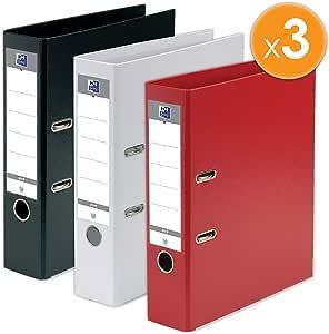Oxford – Lote de 3 archivadores de palanca Smart formato A4 + lomo de 80 mm, 2 anillas, capacidad 750 hojas, cubierta de polipropileno, color negro, rojo y azul: Amazon.es: Oficina y papelería