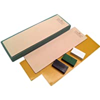 Kit of 2 Leather Honing Strop 3 Inch by 10 Inch with 3 One Oz. Black, Green & White Sharpening Polishing Compounds (One…