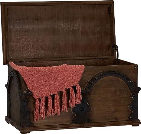Household Essentials Wooden Arch Trunk Storage Chest, Large, Brown