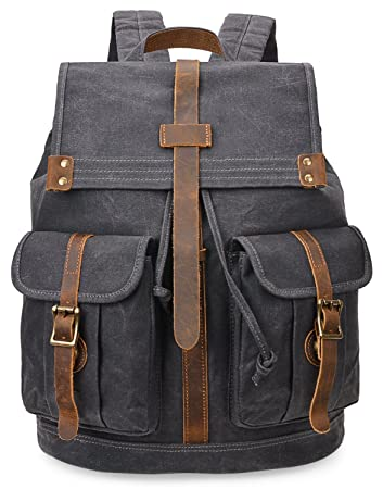 c7dbf4f864 Amazon.com  ALTOSY Water Resistant Canvas Backpacks Men Rucksack Large  Travel Backpack 5252 (Grey)  ALTOSY Co.