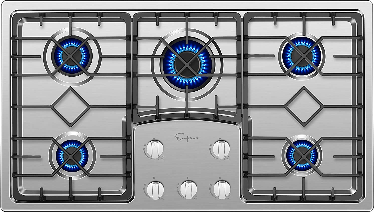 Empava 36 in Gas Cooktop with 5 Italy Sabaf Sealed Burners NG/LPG Convertible Stove in Stainless Steel EMPV-36GS5B90S