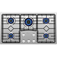 "Empava EMPV-36GC5B9S 36"" Recessed Gas Stove Cooktop with 5 Italy SABAF Sealed Burners NG/LPG Convertible in Stainless Steel, 36 Inch"
