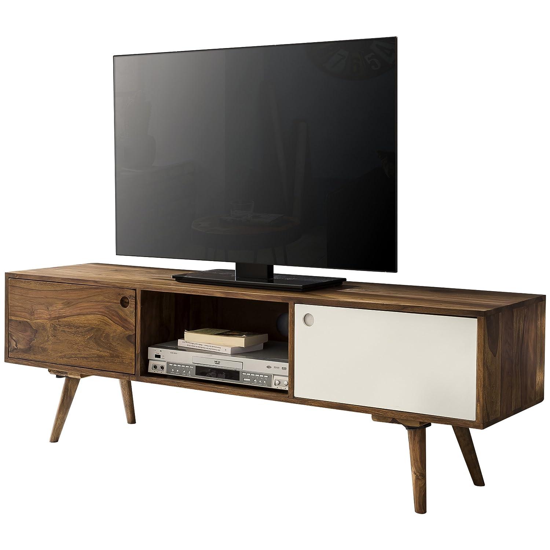 Wohnling Tv Lowboard 140 Cm Massiv Holz Sheesham Landhaus 2 Turen
