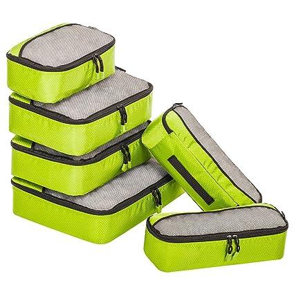 ZOMAKE Organizador para Maleta,6 Piezas Bolsa de Almacenamiento Maleta Caja de Almacenamiento de Viaje(Amarillo Fluorescente)