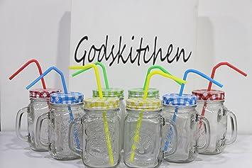 godskitchen transparent mason jars with handle and multicolour lid 500ml set of 8
