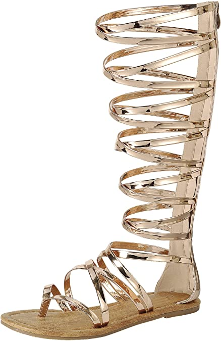 new Breckelles Summer Gold Womens Shoes Roman Gladiator Sandals Size 7.5