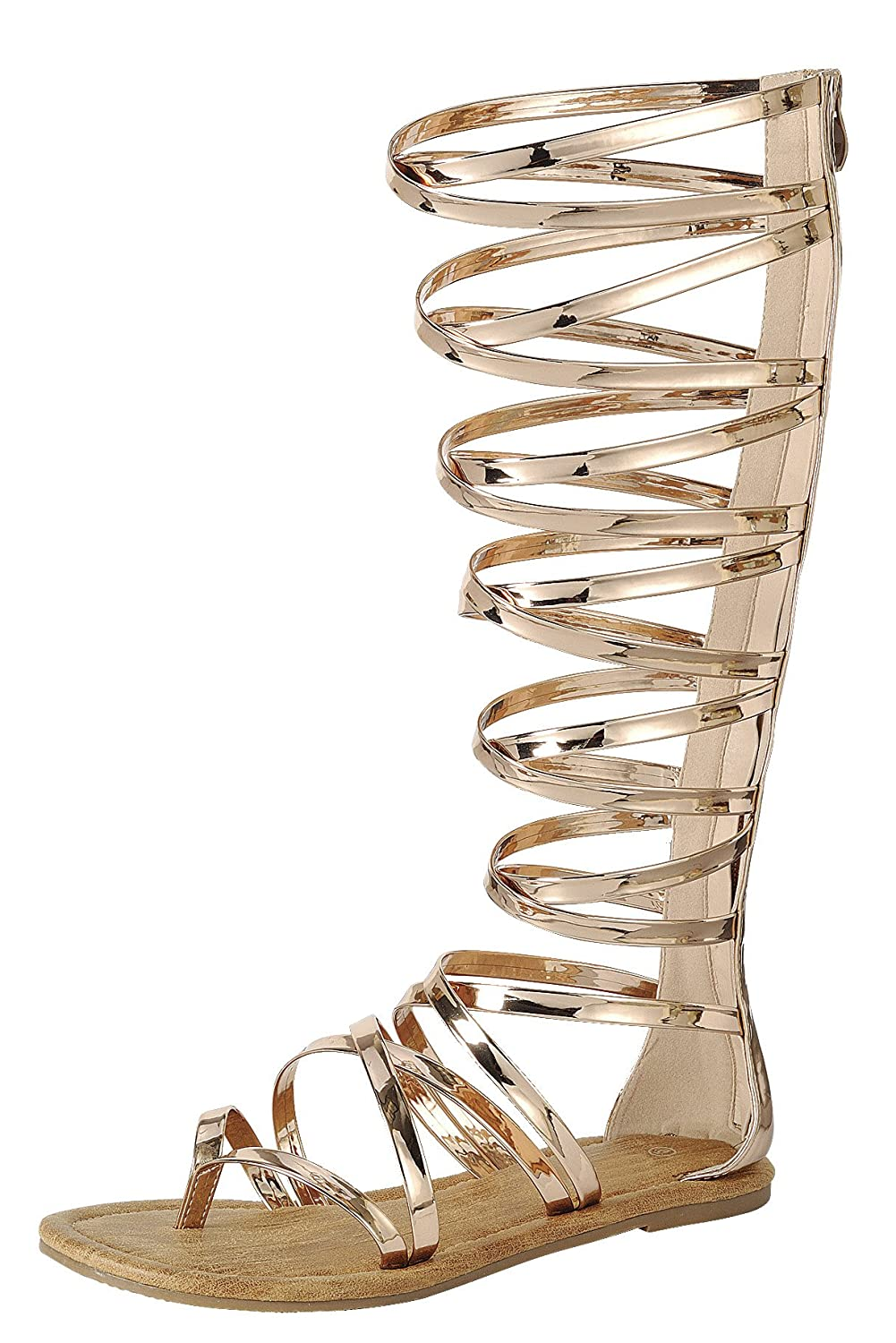 Women's Rose Gold Gladiator Crisscross Strappy Knee-High Flat Sandals - DeluxeAdultCostumes.com