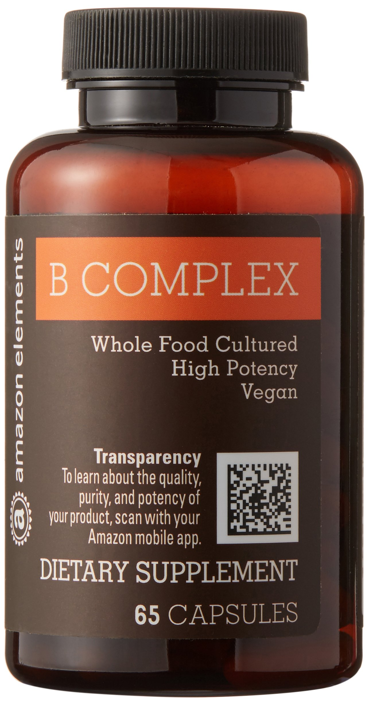 Amazon Elements B Complex, High Potency, 83% Whole Food Cultured, Vegan, 65 Capsules, 2 month supply