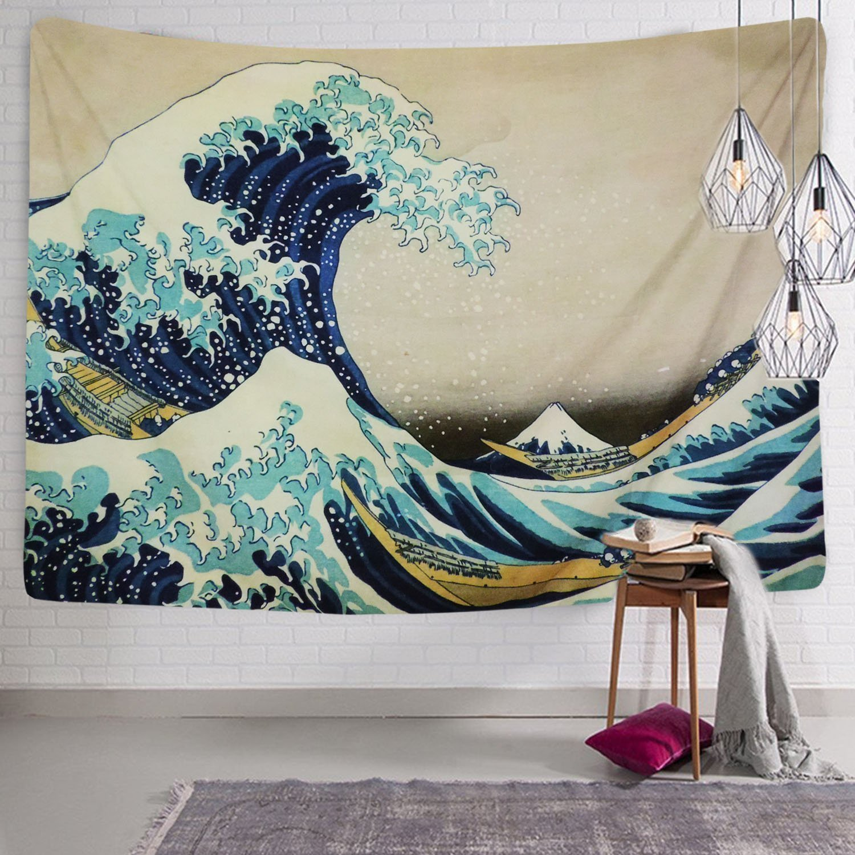 """Wave, 130 * 150cm per Il Soggiorno o la Camera da Letto da Parete Adatto Anche Come Telo da Spiaggia Wave Decorazione Domestica Stampa della /""""Grande Onda/"""" di Kanagawa Ruiuzi Arazzo"""