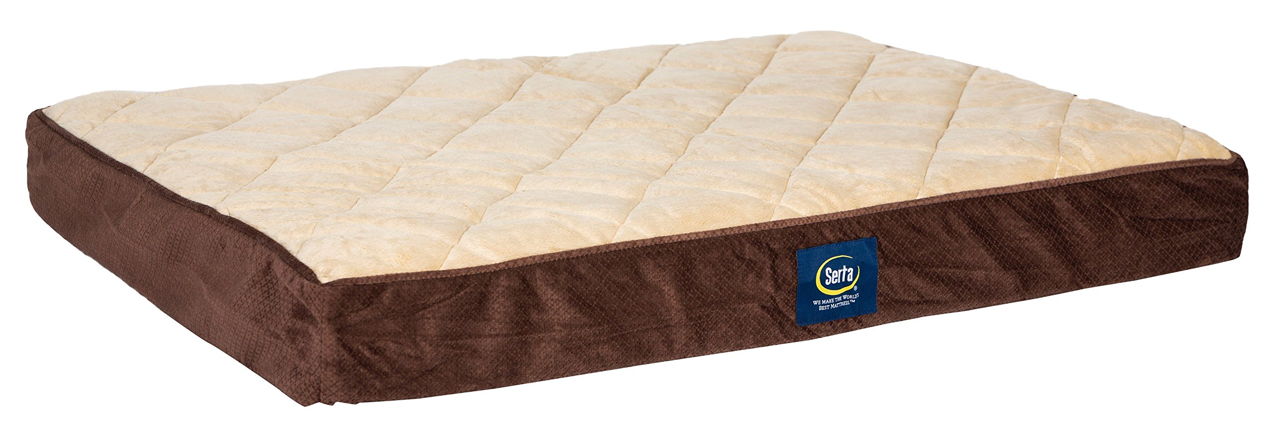 Serta Quilted Pillowtop Pet Bed Cover, Large Brown - Replacement Cover Only
