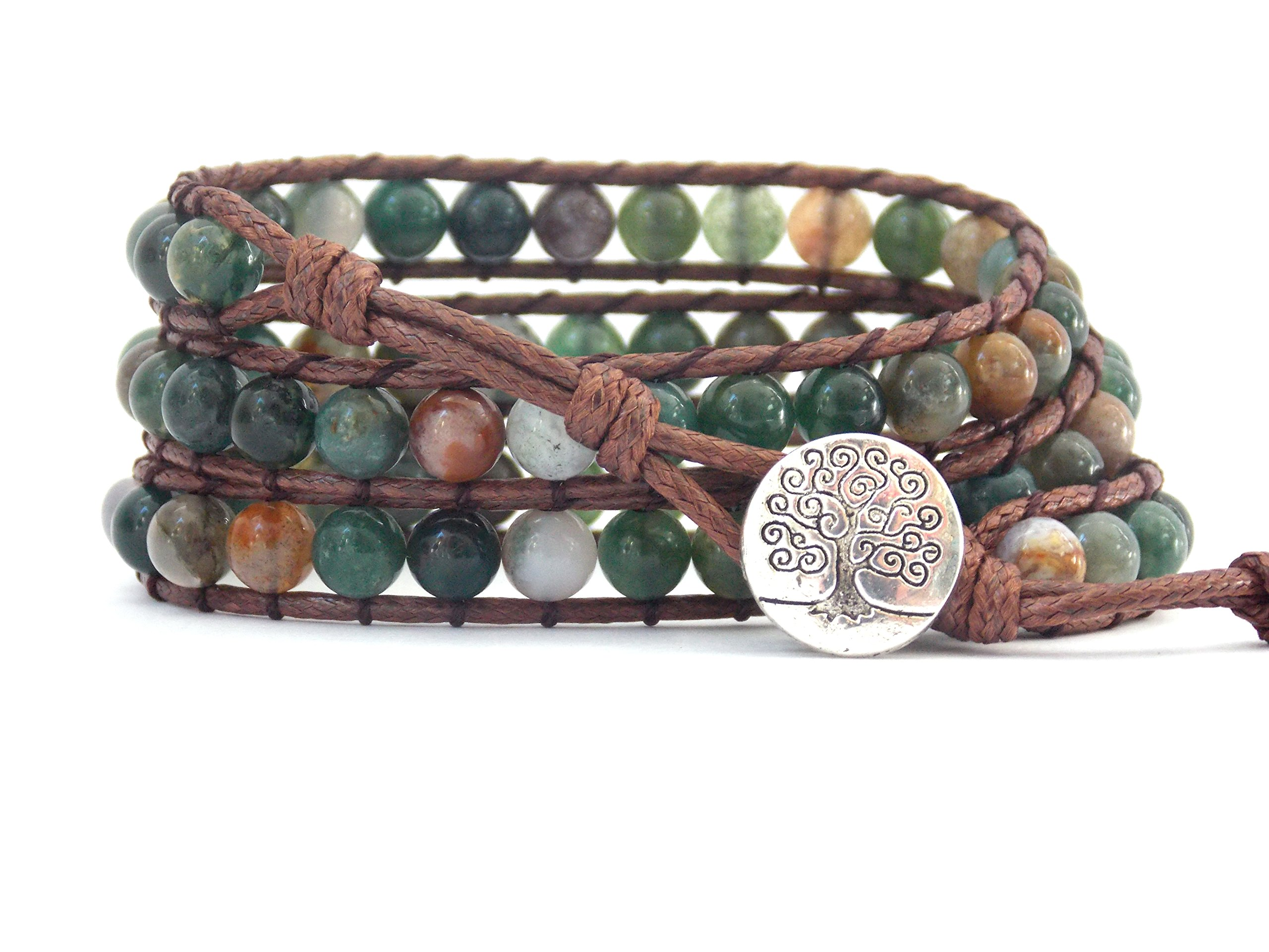 Tree of Life Bracelet Fancy Jasper Beaded Leather Wrap (Silver Plated Button)