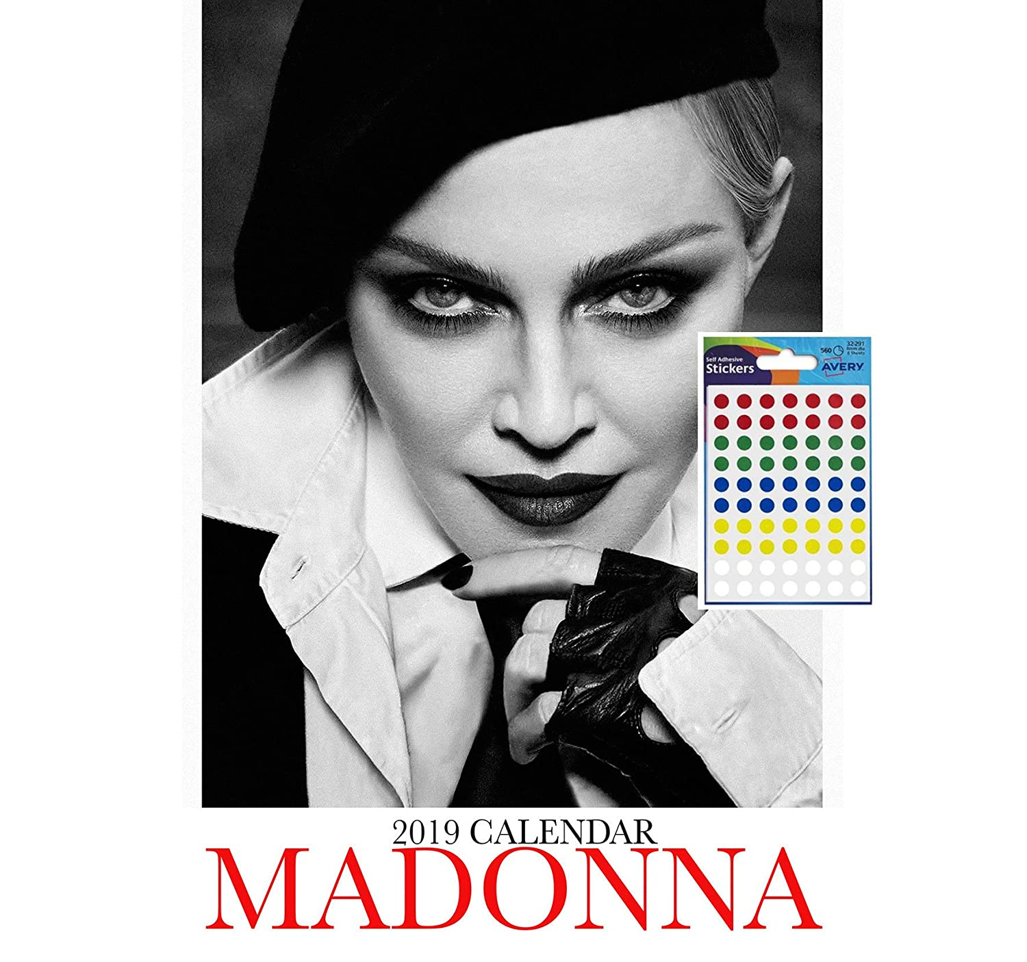 iPosters Bundle - 2 Items - Madonna 2019 Wall Calendar - Closed Size : 42 x 29.5 cm (16.5 x 11.5 inches) a Sheet 70 Multi Colour Self Adhesive Dot Stickers