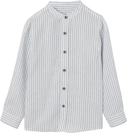 VERTBAUDET Camisa a Rayas niño Cuello Mao Azul Marino Y Blanco 14A: Amazon.es: Ropa y accesorios