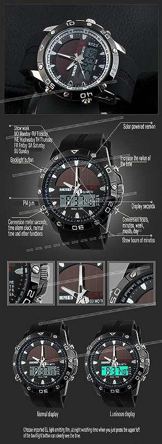 Skmei unisex Hombres digital-quartz reloj PU correa de caucho resistente al agua presente pantalla LCD energía Solar + caja: SKMEI: Amazon.es: Relojes