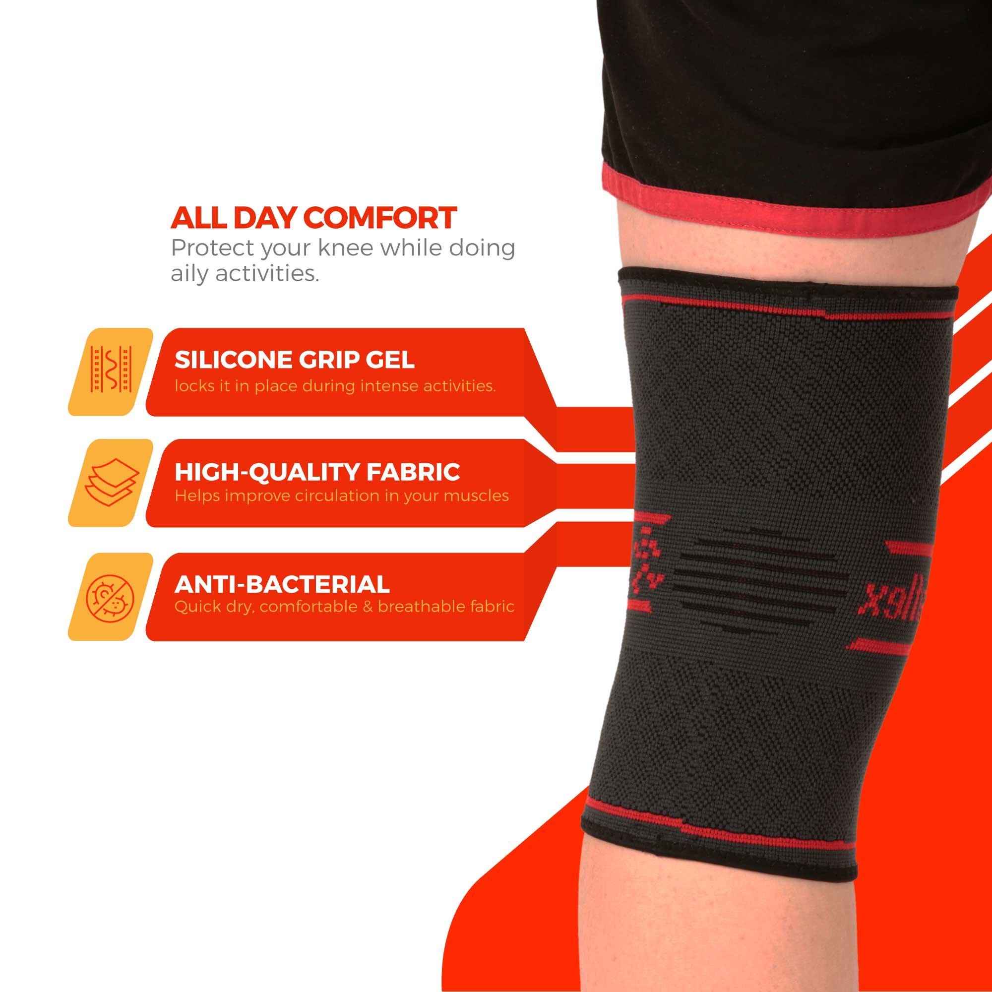 UFlex Athletics Knee Compression Sleeve Support for Running, Jogging, Sports, Joint Pain Relief, Arthritis and Injury Recovery-Single Size Large by UFlex Athletics (Image #5)
