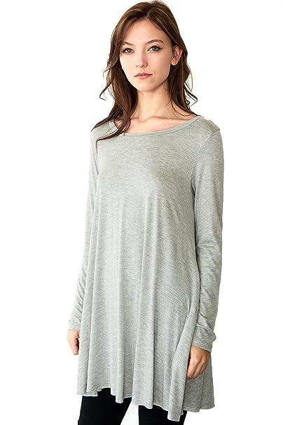 31884f44517 Women s Long Sleeve Easy Wear Jersey Tunic Dress with Side Pocket -H Grey