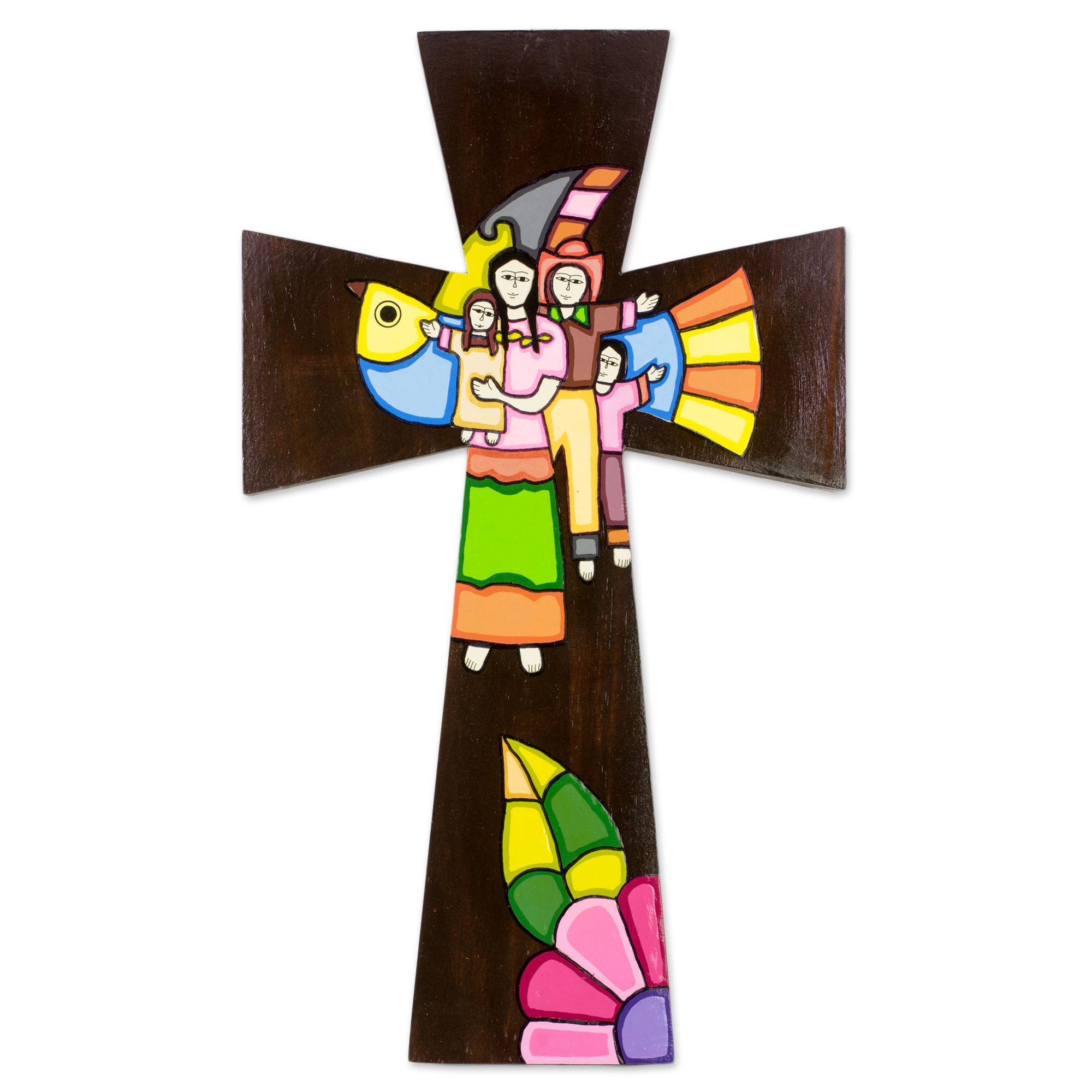NOVICA Animal Themed Large Wood Wall Cross, Multicolor, Familial Union'