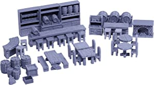 Tavern Bar Furniture Set DND Terrain 28mm for Dungeons and Dragons, D&D, Pathfinder, Warhammer 40k, RPG, Miniatures, Age of Sigmar, Tabletop, D and D, Dungeons and Dragons Gifts