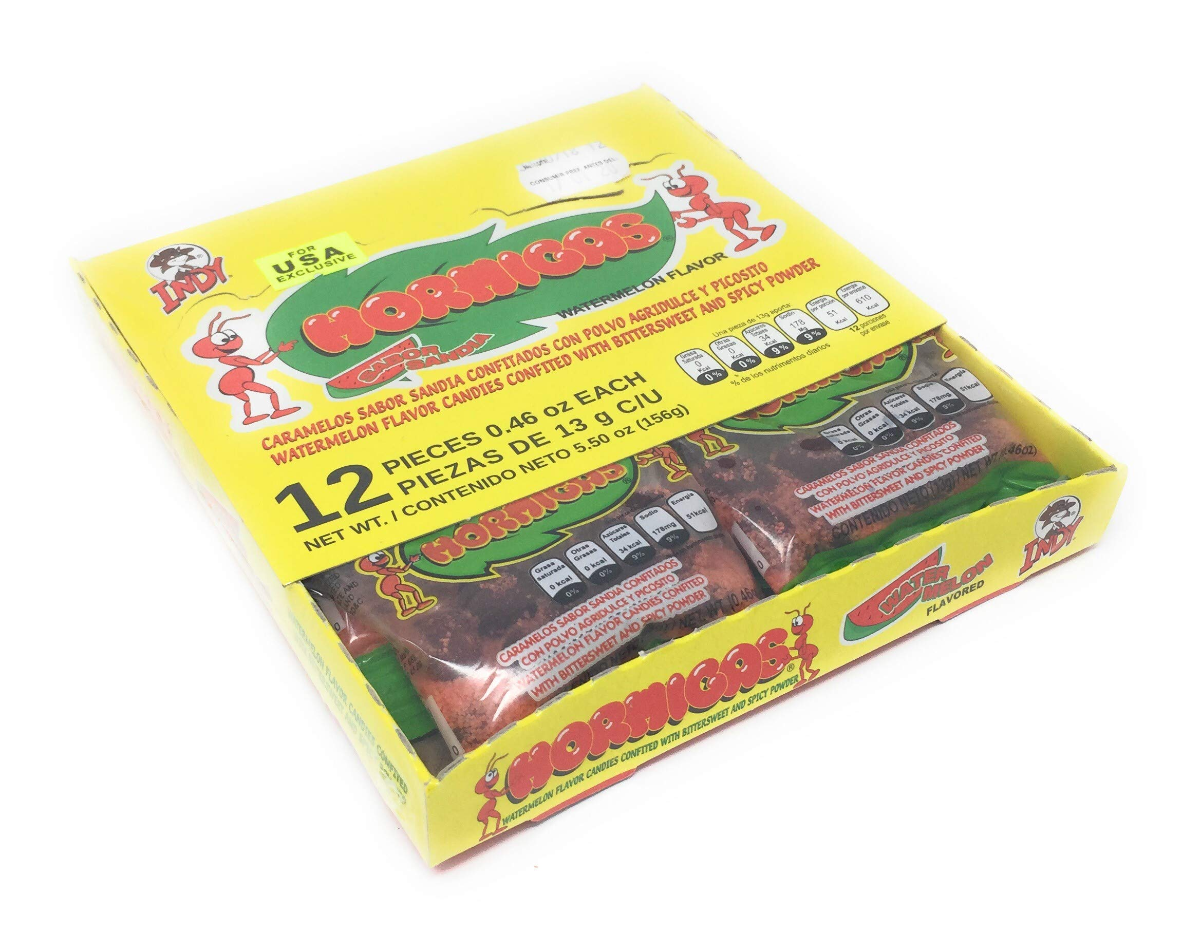 Indy Hormigas Watermelon Flavor Candies with Bittersweet and Spicy Powder