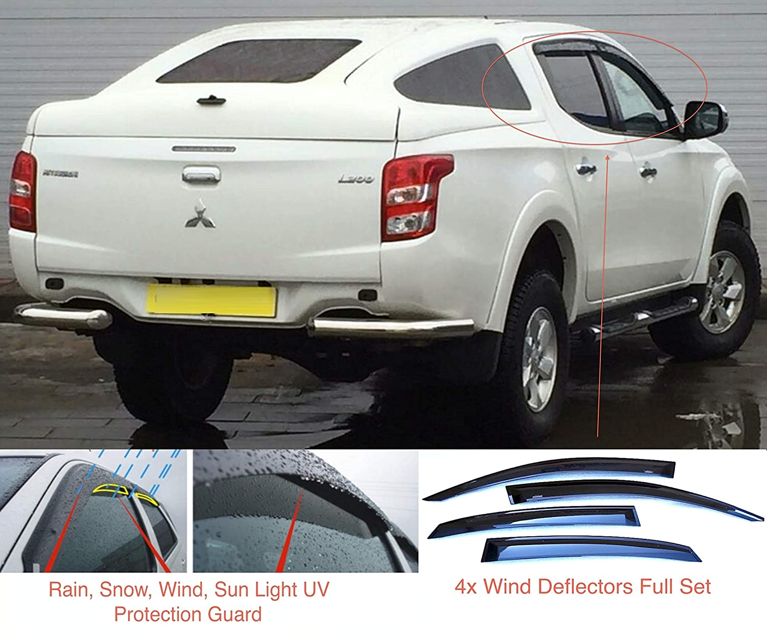 present 4-door Double Cab Pickup Wind Deflectors Dark Smoke Tinted Acrylic Glass Door Side Windows Visors Rain Snow Sun Guards 4x Front Rear compatible with Mitsubishi L200 Triton Fiat Fullback 2015