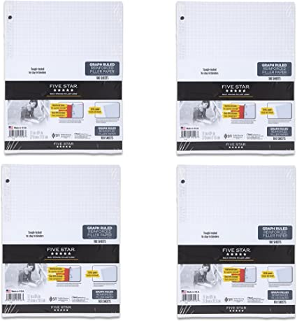 Loose-leaf Five Star Reinforced Graph Filler Paper 11 x 8.5 Inch Graph Ruled