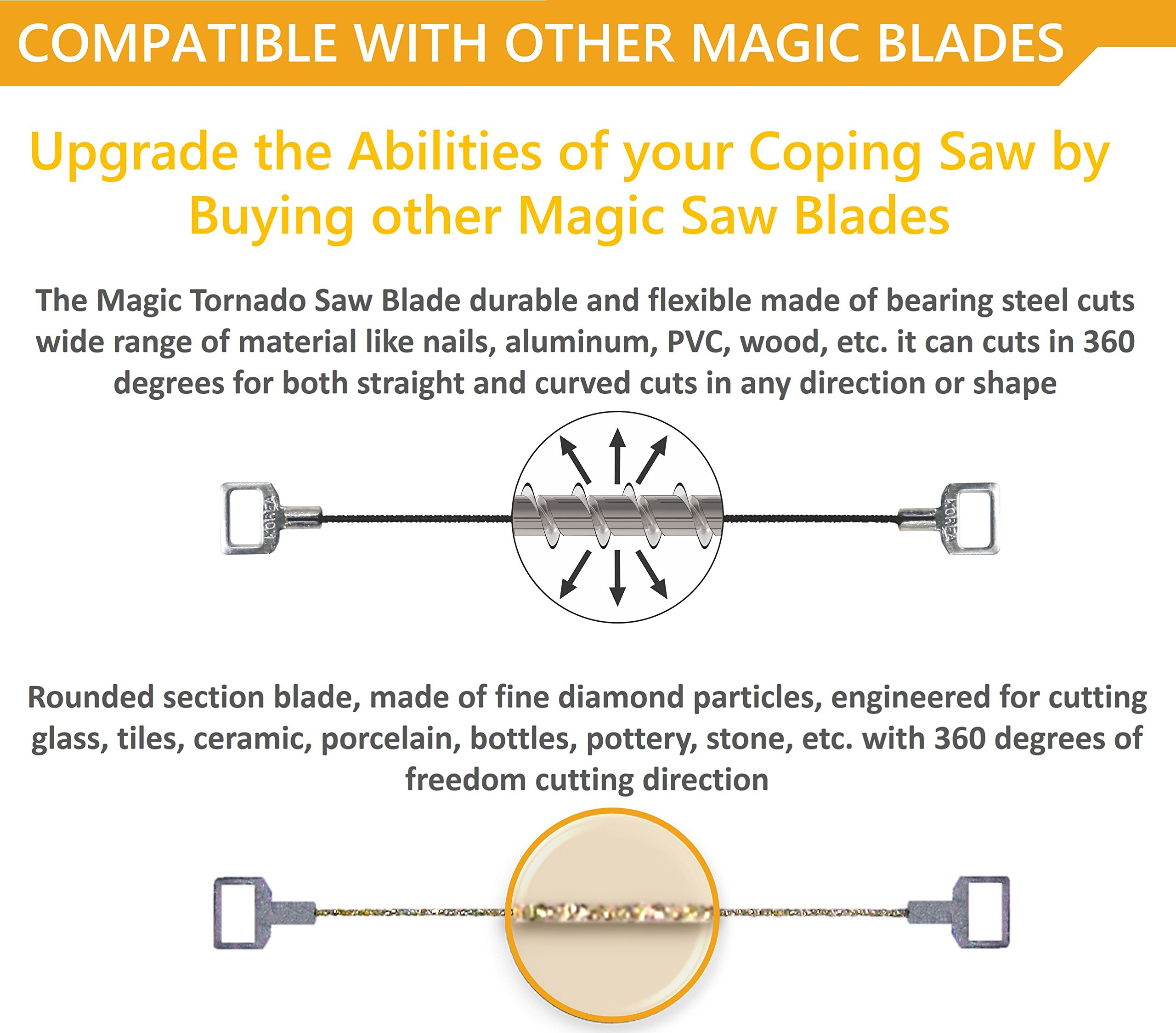 Original Magic Coping Saw with 6 inch High Carbon Steel Pins Blades, a Heavy Duty H shape Metal Frame Works as Fret Saw, Hacksaw, and Pruning Saw & Suitable to Cut Wood, Plastic, PVC, Aluminum, Nails by Amazing Tools (Image #7)