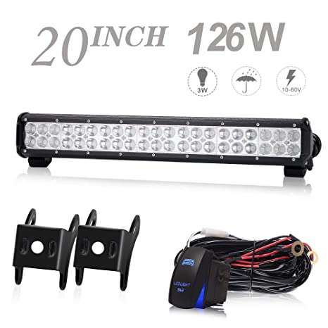 keenaxis 20 inch 126w led light bar offroad led lights w/rocker switch  wiring harness