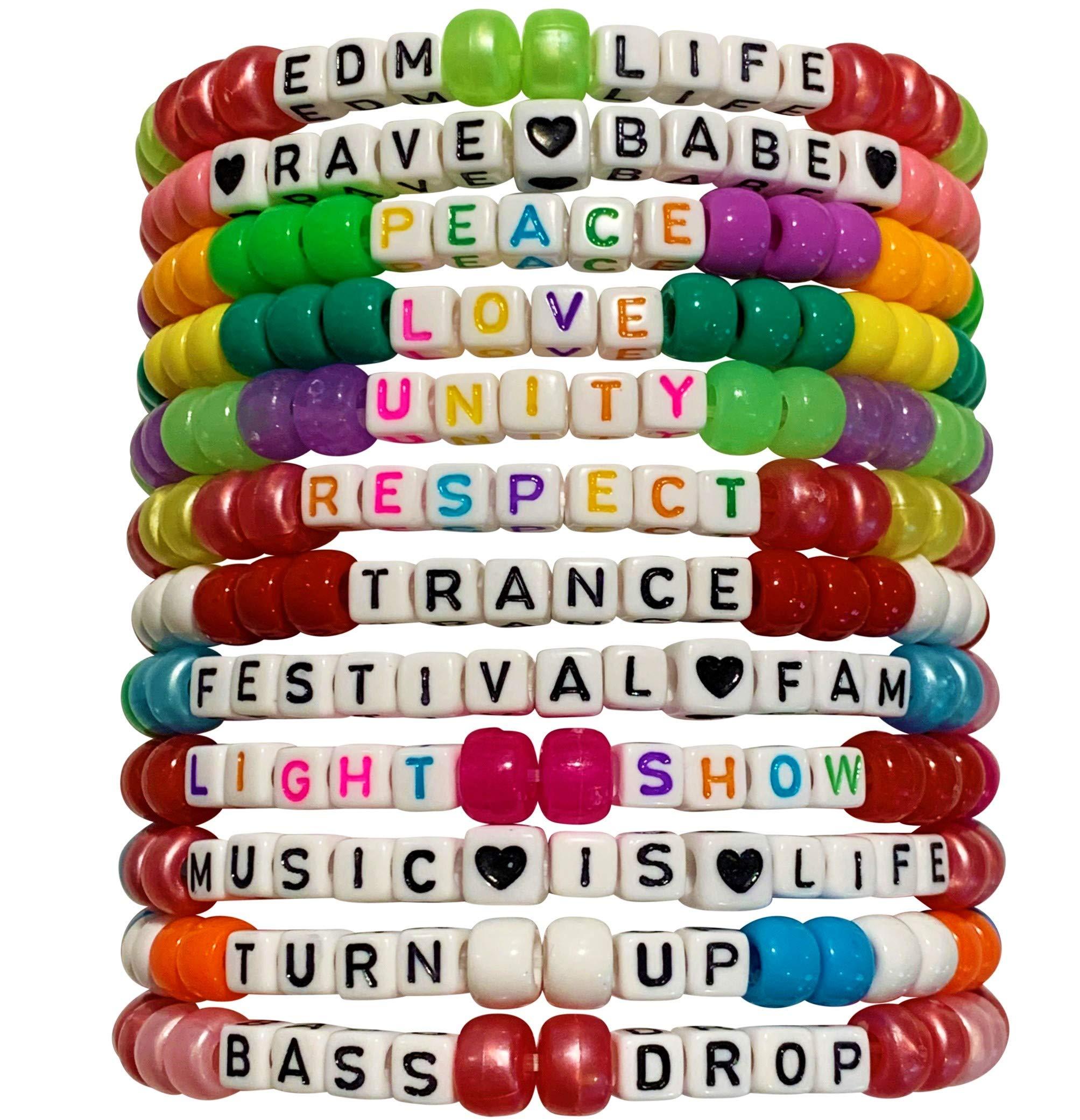 Handmade Kandi Bead Bracelets for Festivals, Parties, Raves, and More! (12-Pack) (EDM)