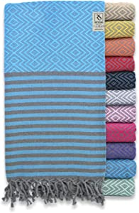 Ray Silver Premium Turkish Towel 100% Cotton Peshtemal Bath Towel 71x40(100x180 cm) Thin Light Weight Travel Camping Bath Sauna Beach Gym Pool Blanket Home Decor Quick Dry Towels (Blue/Grey)