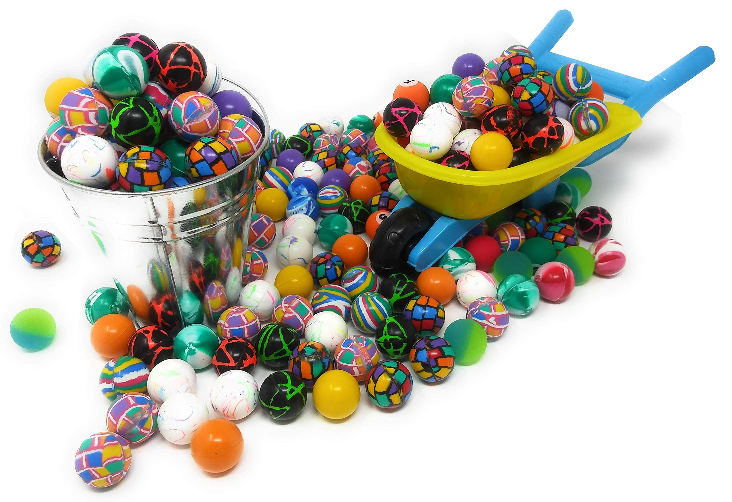 4E's Novelty Mega Bulk Assortment of 250 Bouncy Super Balls Mix for Kids, High Bouncing Swirl Rubber Balls, Great Bounce Party Favor Toys, Carnival Fun Prizes, for Boys and Girls 1'' by 4E's Novelty (Image #2)