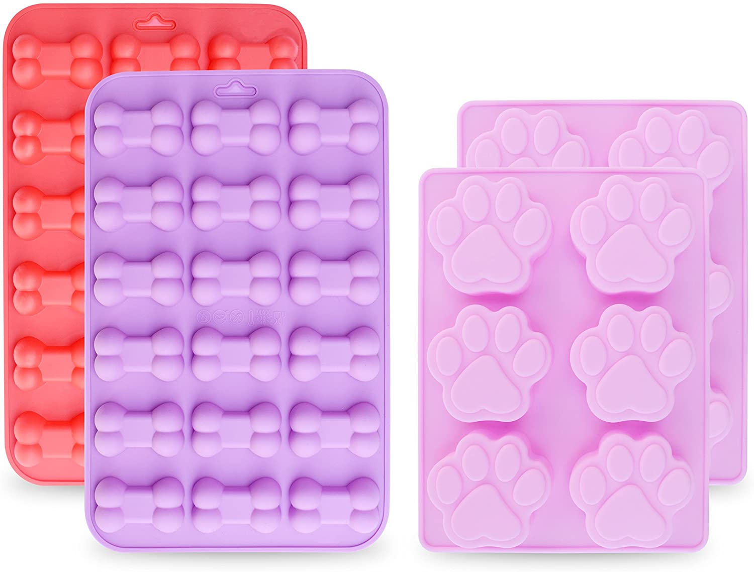 homEdge Jumbo Puppy Dog Paw (6 Cavity) and Bone Molds, Non-Stick Food Grade Silicone Dog Treats Molds, Silicone Mold for Chocolate, Candy, Jelly, Ice Cube, Dog Treats (Set of 4PCS)