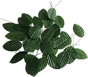 Fake Faux Artificial Green Wired Silk Floral Leaves for Home Kitchen Party Decorations or Handcrafts 200 Counts