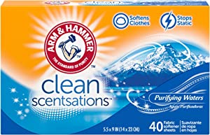 ARM & HAMMER Fabric Softener Sheets, 40 sheets, Purifying Waters