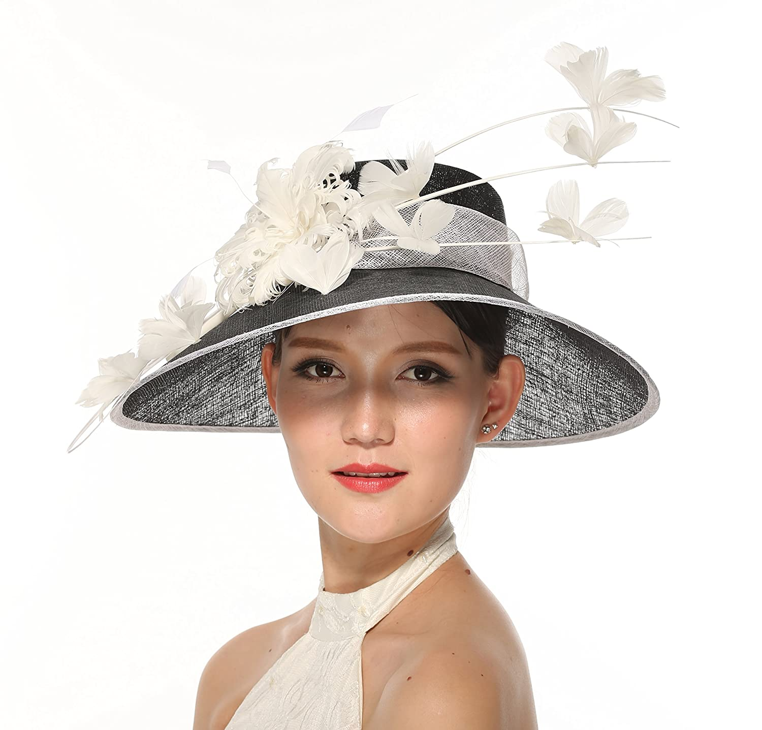 Gorgeous Wide Brim Sinamay Hat Butterfly Floral Feathers Derby Floppy Dress  Black w White 002 at Amazon Women s Clothing store  e98e404b2a1