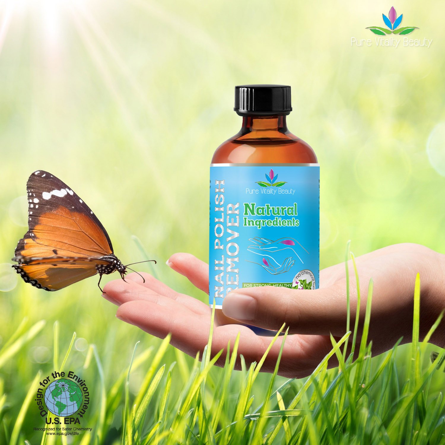 Nail Polish Remover - Natural and Plant Based - Non Acetone - Conditioner and Strengthener for Nails and Cuticles - Safe for Kids - no Chemicals and Non Toxic by Pure Vitality Beauty (Image #4)