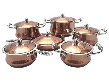 LavoHome - Batería de cocina (12 piezas, acero inoxidable), diseño de ollas