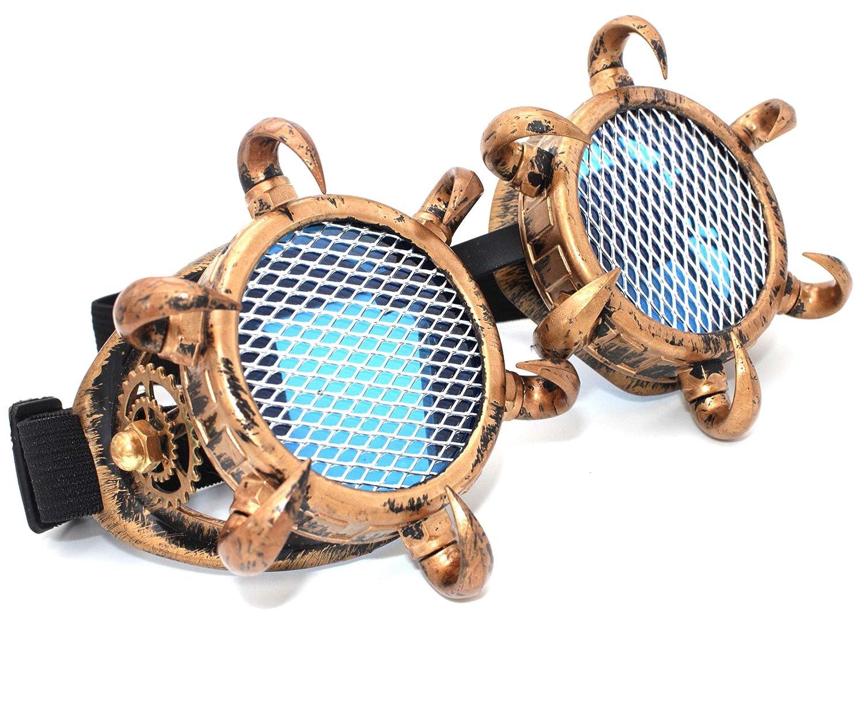 Design 1 Gold MFAZ Morefaz Ltd Cyber De Soleil des Lunettes de Soudage Welding Goggles LED Steampunk Antique Cosplay Sunglasses Round Glasses Party Fancy Dress