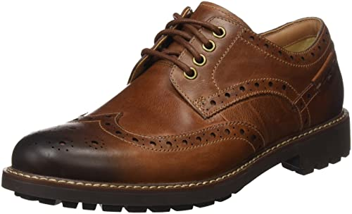 Clarks Montacute Wing LaceUps Mens  Dark Tan Leather