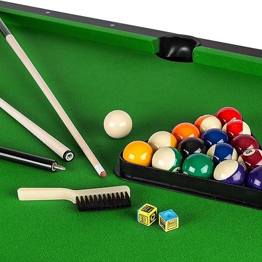 Oneconcept Leeds - Mesa de Billar, Mesa de Pool, Madera DM, Chapa de Nogal, Recubrimiento Verde, 16 Bolas de plástico, 2 Tacos, triángulo, Cepillo, 2 x tizas, Altura Ajustable, café: Amazon.es: Deportes