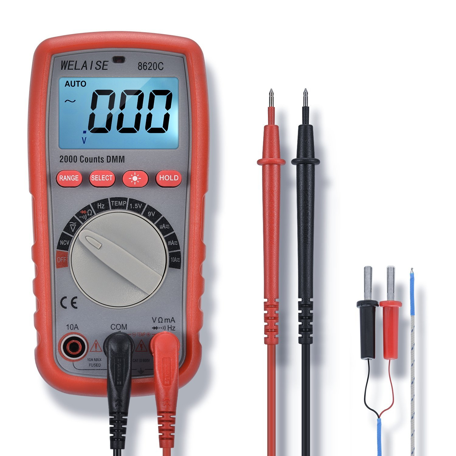 Digital Multimeter Welaise Auto Ranging Non Contact Voltage Led Display Voltmeter Besides Dc Circuit Detection Electronic Ac Ohm Volt Meter Multi Tester W Temperature Battery Test Amazon