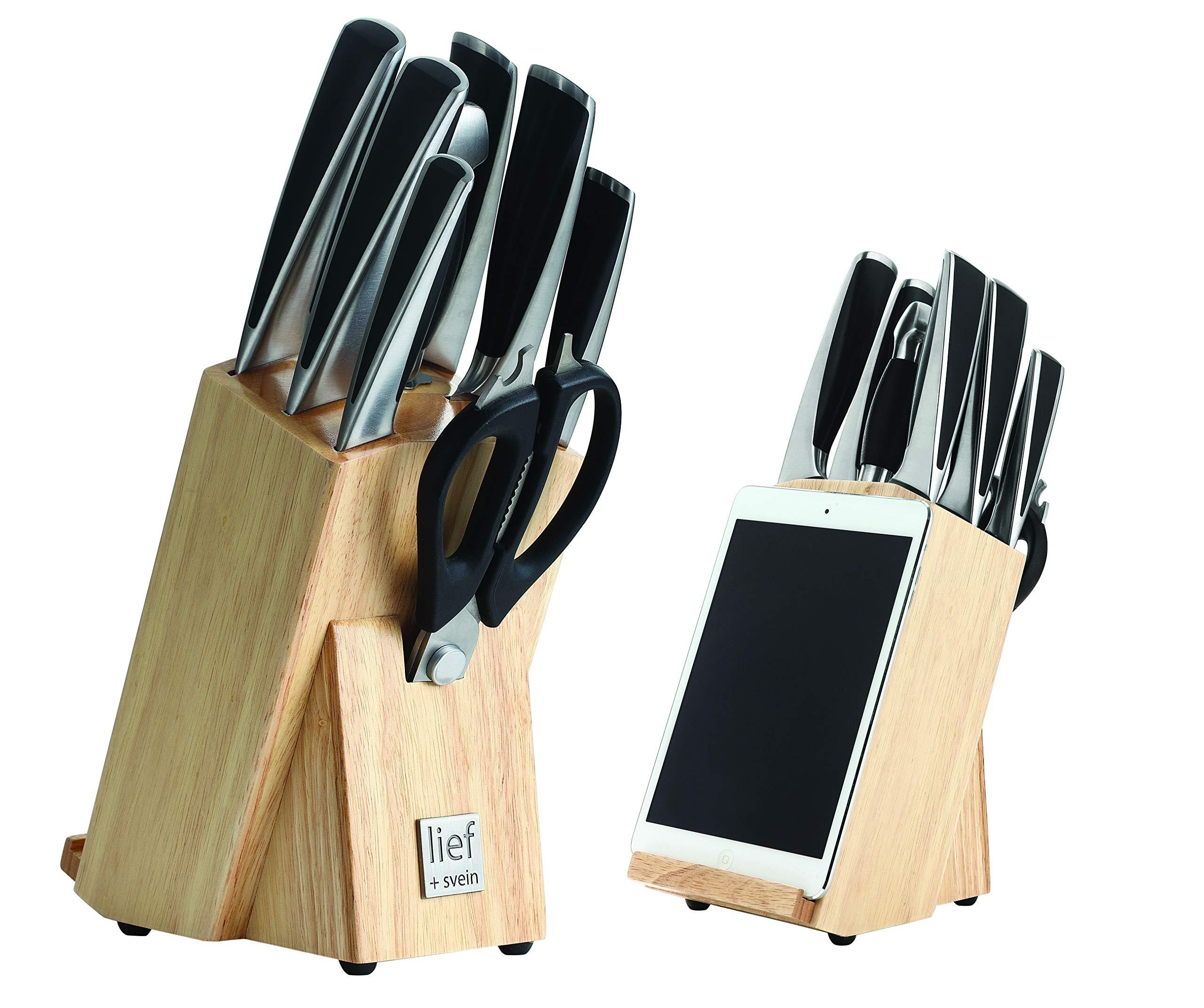 Lief + SVEIN German Steel Knife Set, 9-Piece Kitchen Knife Set & Wood Block, X50Cr15Mov Stainless Steel Knives, ergonomic designed handles, Unique knife block with Ipad holder. Ideal Kitchen Knives