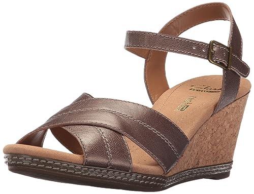 093aa5a48df4 Clarks Women s Helio Latitude Wedge Sandal Pewter Metallic Leather 9 M US