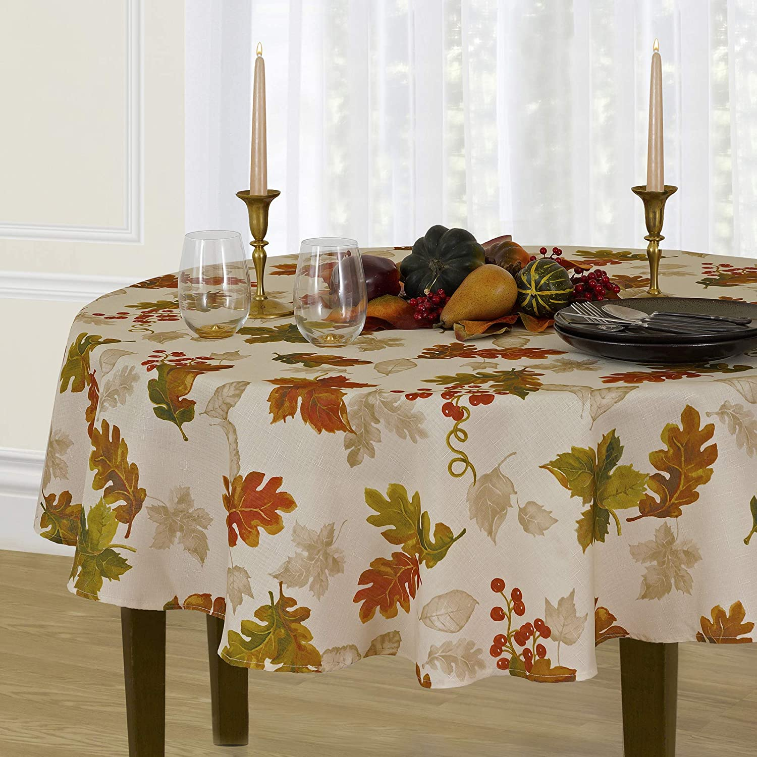 "Elrene Home Fashions Swaying Leaves Allover Fabric Tablecloth for Thanksgiving/Fall/Harvest, 70"" Round, Ivory: Home & Kitchen"