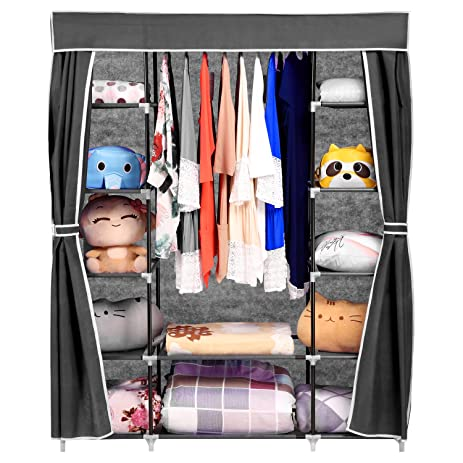 Homdox 66inch Portable Wardrobe Metal+Fabric Closet Organizer Storage With  Cover And Side Pockets And