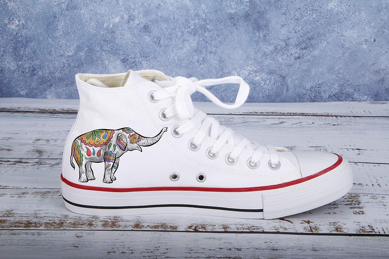 596a18272e0b3 Amazon.com: Hand Painted Shoes Elephant-Women Girls School Canvas ...